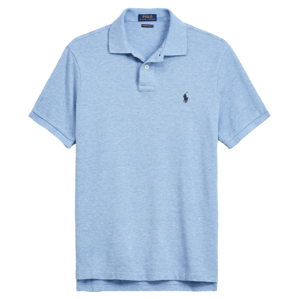 Polo Ralph Lauren Custom Slim Fit Mesh Polo Blue Jamaica Heather