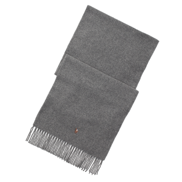Polo Ralph Lauren Fringed Virgin Wool Scarf Fawn Grey Heather