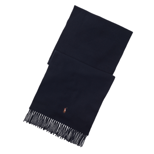 Polo Ralph Lauren Fringed Virgin Wool Scarf Hunter Navy