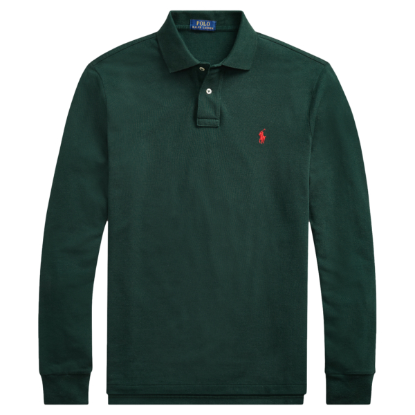 Polo Ralph Lauren Slim Fit Mesh LS Polo College Green