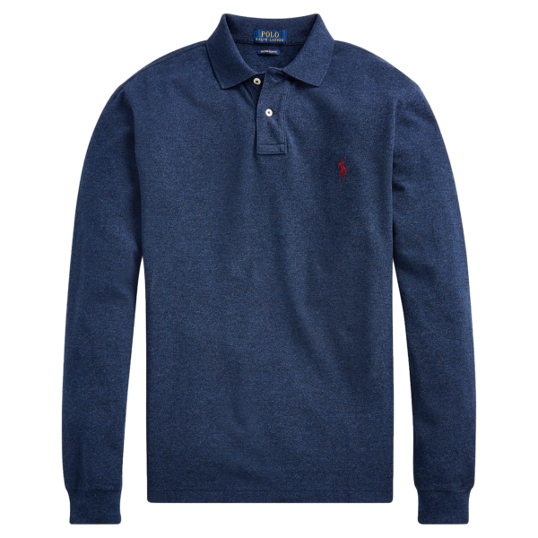 Polo Ralph Lauren Slim Fit Mesh LS Polo Monroe Blue Heather