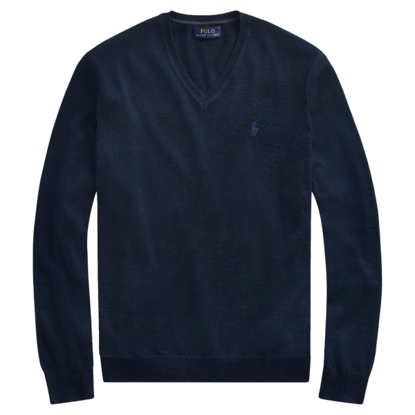 Polo Ralph Lauren Slim Washable Merino V-Neck Sweater Hunter Navy