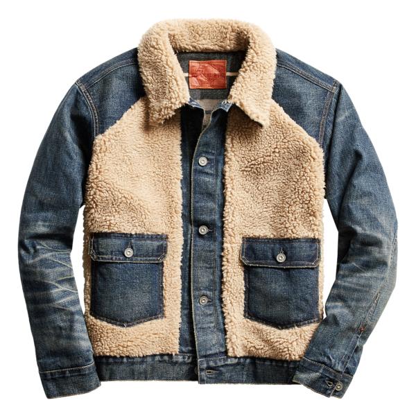 RRL by Ralph Lauren Fleece Panelled Grizzly Denim Jacket Indigo