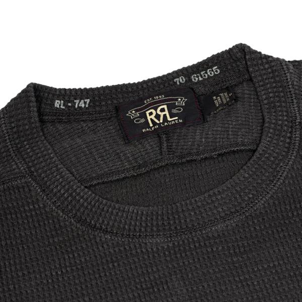 RRL by Ralph Lauren Textured Crew Neck L/S T-Shirt Faded Black Canvas