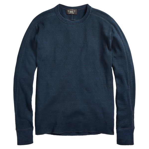 Double RL Crew Neck L/S Knit T-Shirt Rinsed Blue Indigo