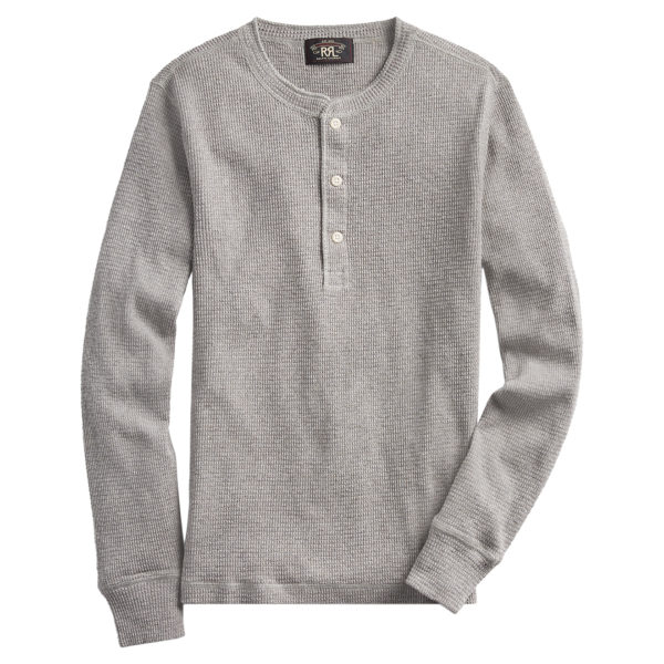 Double RL Henley LS Knit T-Shirt Cool Grey Sire