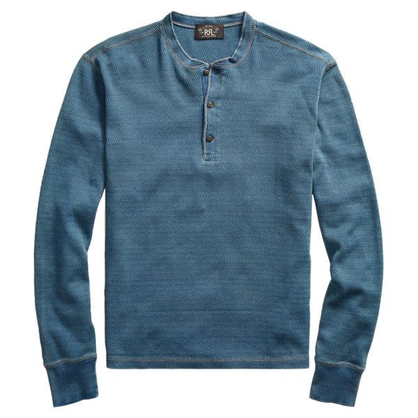 Double RL Jacquard Knit LS Henley T-Shirt Indigo
