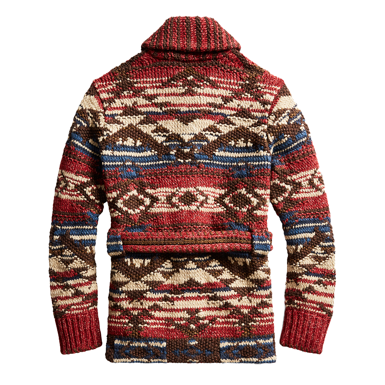 Rrl By Ralph Lauren Hand Knitted Ranch Cardigan Red Navy
