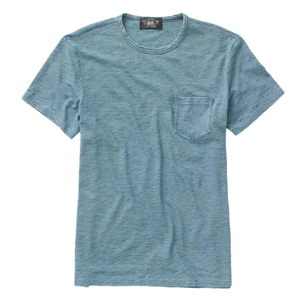 Double RL Cotton Jersey Pocket T-Shirt Washed Blue Indigo