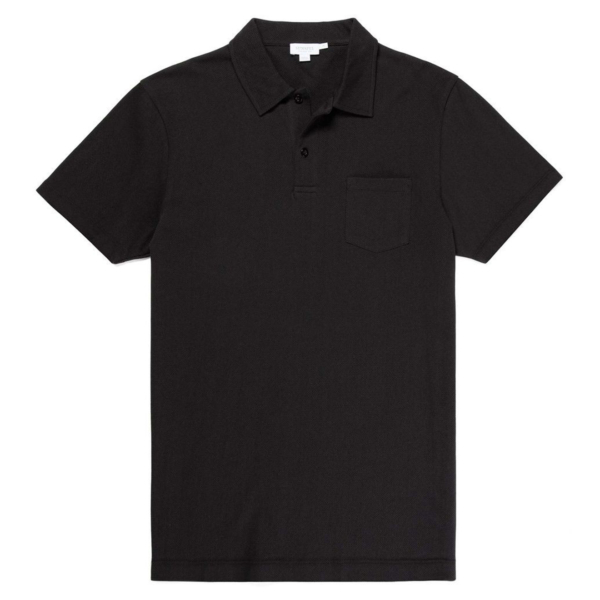 Sunspel Riviera S/S Polo Shirt Black