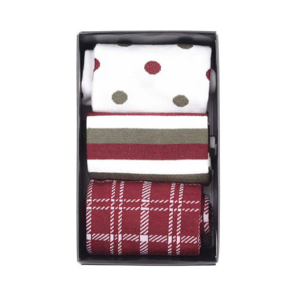 Barbour Womens Spot Stripe Sock Set Olive / Merlot