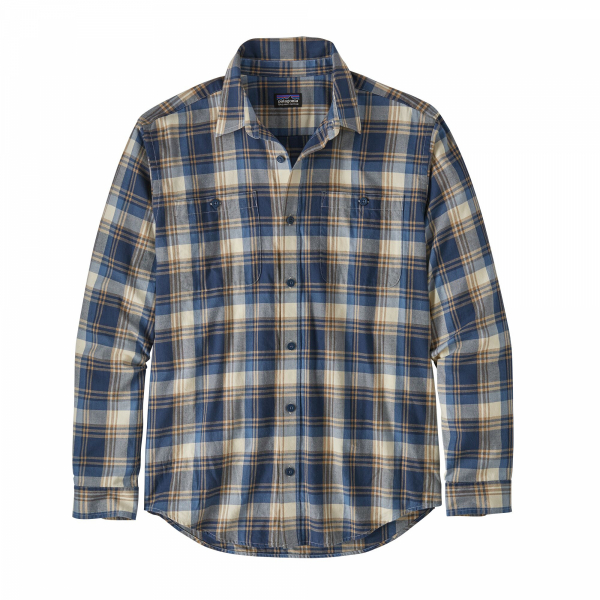 Patagonia Long Sleeve Pima Cotton Shirt Buttes Small - Stone Blue