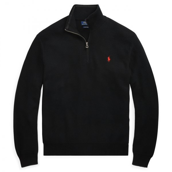 Polo Ralph Lauren Half Zip Pima Cotton Textured Knit Black