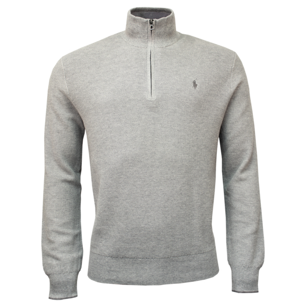 Polo Ralph Lauren Half Zip Pima Cotton Textured Knit Grey