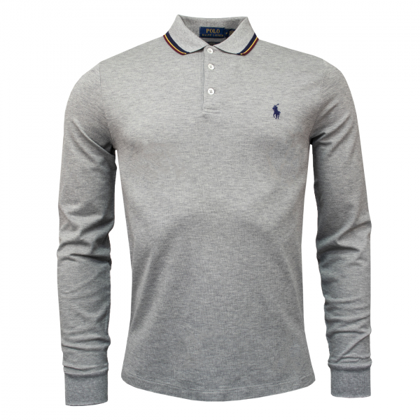 Polo Ralph Lauren LS Tipped Polo Grey