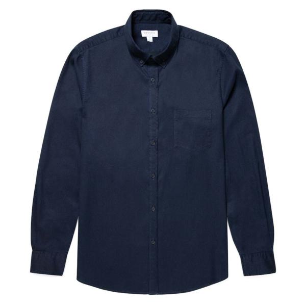 Sunspel Brushed Cotton Button Down Shirt Navy