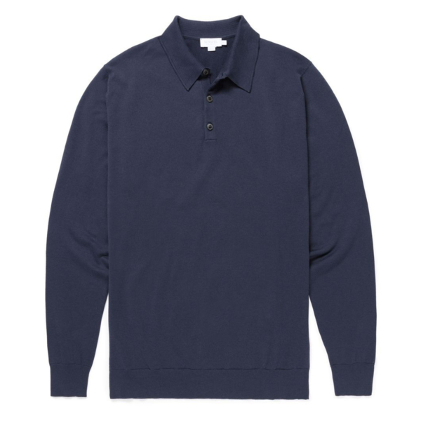 Sunspel Long Sleeve Merino Polo Shirt Light Navy