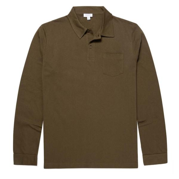 Sunspel Long Sleeve Riviera Polo Military Green
