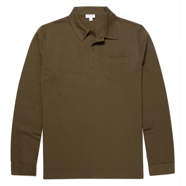 Sunspel Long Sleeve Riviera Polo Military Green