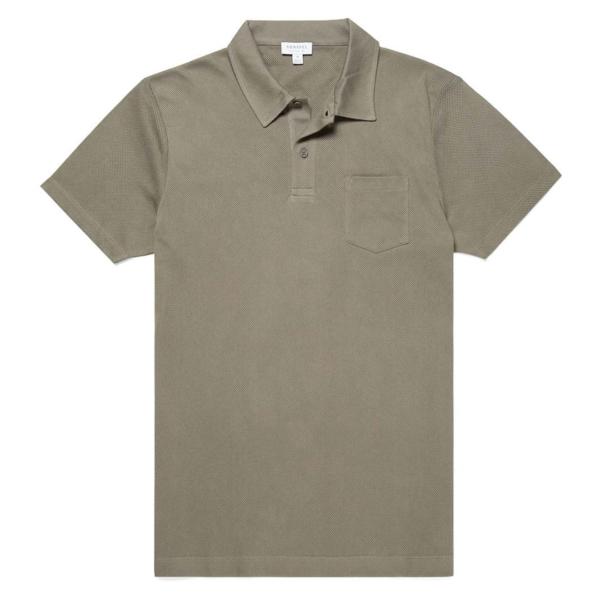 Sunspel Riviera S/S Polo Shirt Khaki Grey
