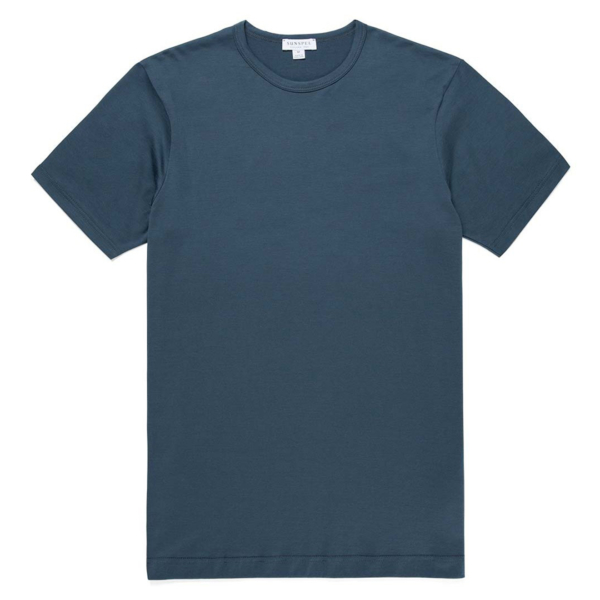 Sunspel Short Sleeve Classic Crew Neck T-Shirt Dark Petrol