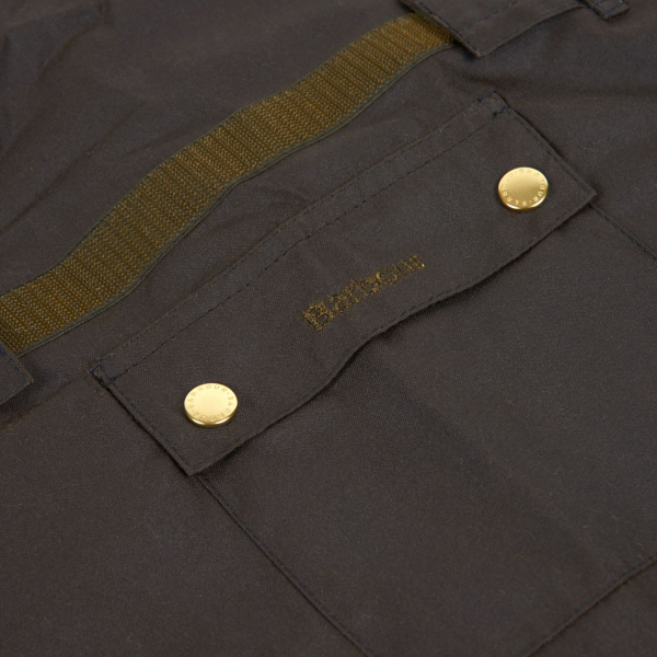 Barbour 2 in 1 Wax Cotton Dog Coat Studded Pocket and Embroidered Logo Olive