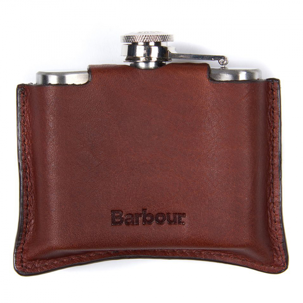 Barbour 4oz Hinged Hip Flask Brown