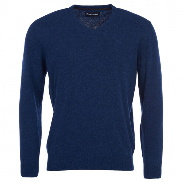 Barbour Essential Lambswool V Neck Deep Blue