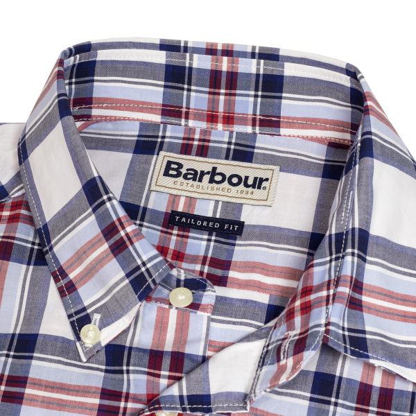 Barbour Highland 6 SS Tailored Shirt Check Pattern Sky