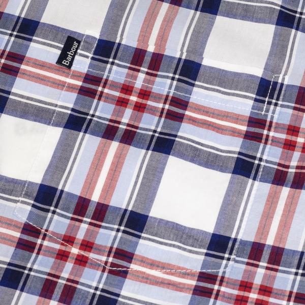 Barbour Highland 6 SS Tailored Shirt Check Pocket Sky