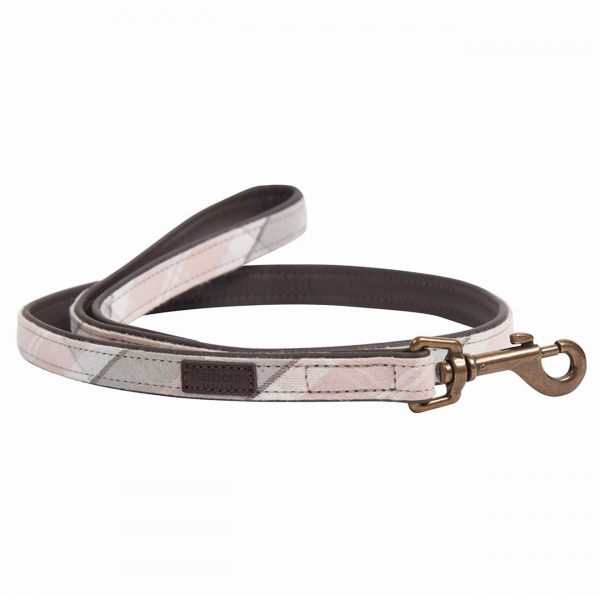 Barbour Leather Dog Lead Pink / Grey Tartan