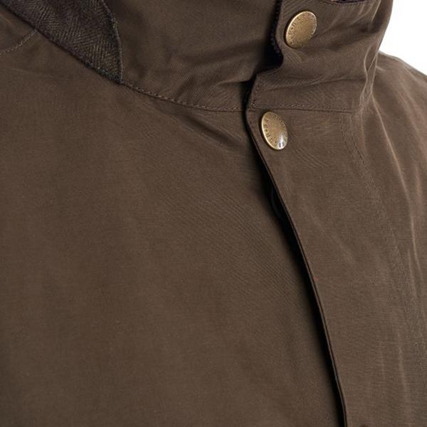 Barbour Lorton Jacket Studded Fastened Collar Dark Olive