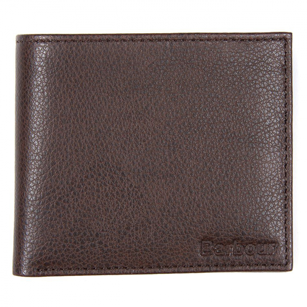 Barbour Peterlee Leather Billfold Wallet Dark Brown