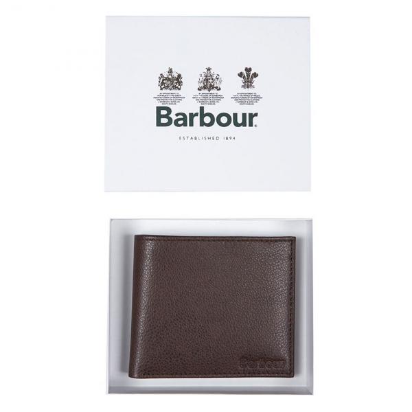 Barbour Peterlee Leather Billfold Wallet Dark Brown