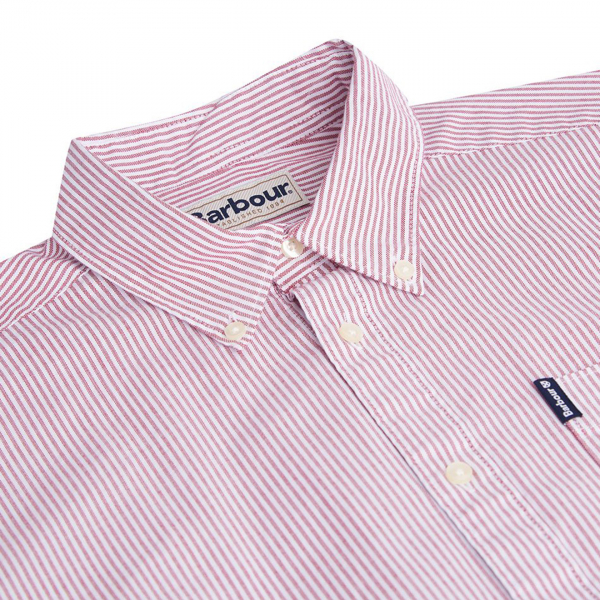 Barbour Stripe 7 Tailored Fit Shirt Red
