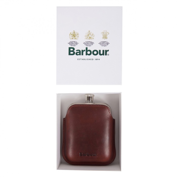 Barbour Wax Leather Hip Flask Dark Brown