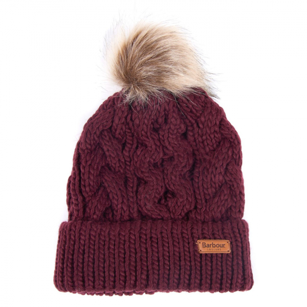 Barbour Womens Penshaw Beanie Hat Bordeaux
