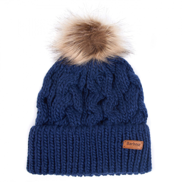 Barbour Womens Penshaw Beanie Hat Navy