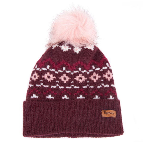 Barbour Womens Roseberry Beanie Hat Bordeaux