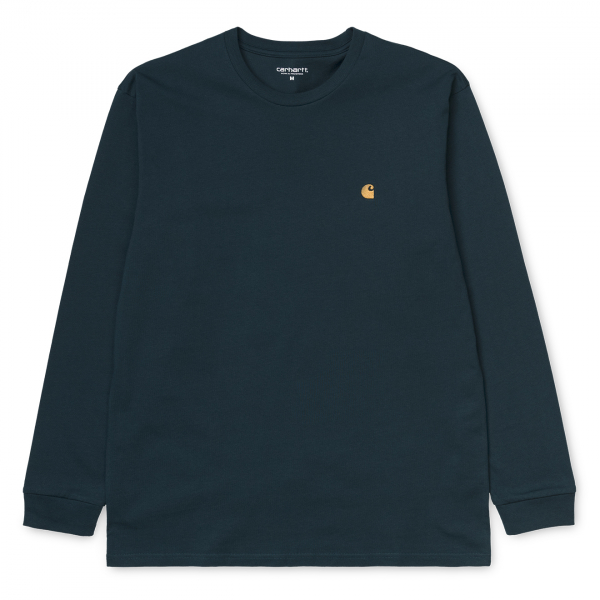 Carhartt L/S Chase T-Shirt Duck Blue / Gold