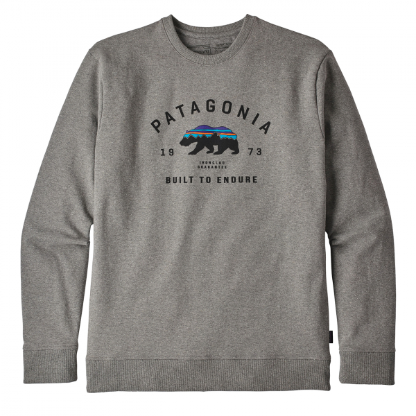 Patagonia Arched Fitz Roy Bear Uprisal Crew Sweatshirt Gravel Heather