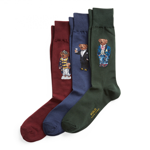 Polo Ralph Lauren 3-Pack Bear Socks Green / Navy / Wine