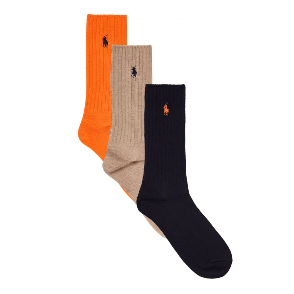 Polo Ralph Lauren Classic Crew Socks 3-Pack Orange / Tan / Navy