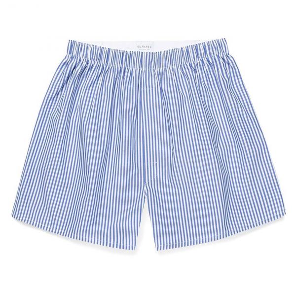 Sunspel Seasonal Boxer Short Blue / White Stripe