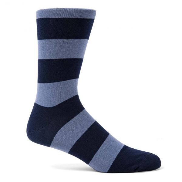 Sunspel Stripe Cotton Sock Navy / Blue Slate Bold