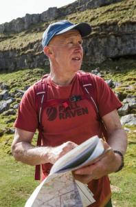 Alan Hinkes OBE Map Reading Wearing Fjallraven T-Shirt