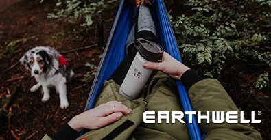 Camping Out With Dog and Earthwell Roaster Loop Vacuum Flask