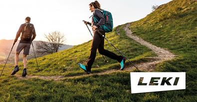 Trekkers on hillside using Leki Walking Poles