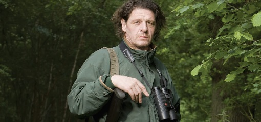 Marco Pierre White, celebrity chef game shooting with hunting binoculars
