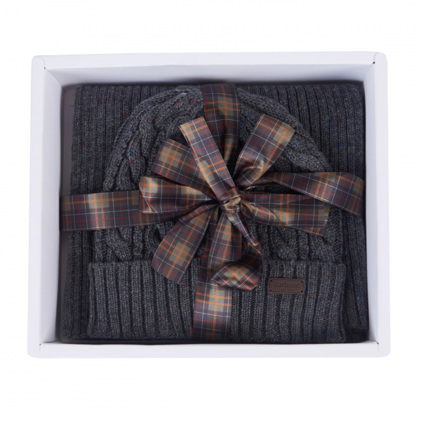 Barbour Beanie & Scarf Gift Set Charcoal